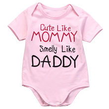 New Summer Newborn Infant Baby Girls Short Sleeve Letter Cotton Bodysuit Jumpsuit Outfits Clothes