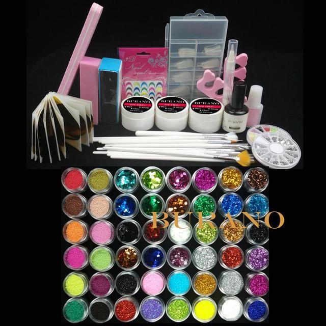 Burano Nail Art UV Gel Kits sets manicure set Tools Brush Tips Glue Acrylic Powder Set #004