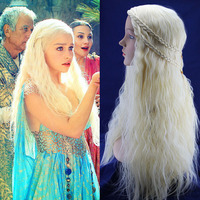 Daenerys Targaryen Dragon Princess Light Gold Wig Game Of Thrones Braids Cosplay Wigs Costume Free Hairnet