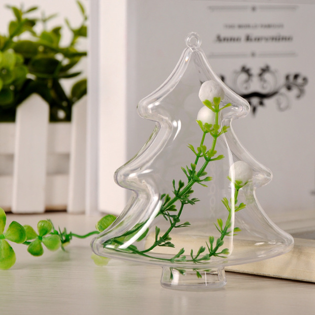 mini clear plastic christmas tree topper pendant decorations xmas party ornament candy box favors gifts for - Mini Christmas Tree Topper