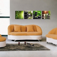 4 Pieces Poster Bamboo Green SPA Zen Stone Candles Flower Canvas Print Wall Art Pictures for Home Bathroom Bedroom Wall Decor
