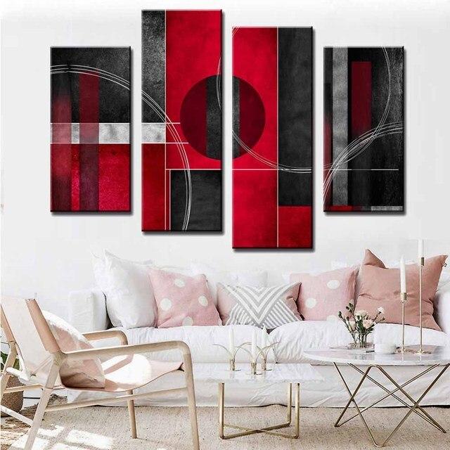 4 Pcs/ensemble Moderne À Lu0027huile Abstraite Peinture Impressions Sur Toile Rouge  Blanc