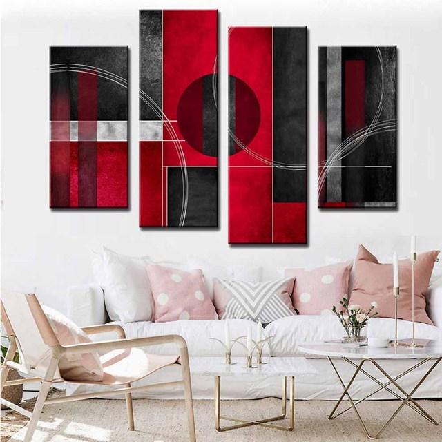 4 teile/satz Moderne Abstrakte Ölgemälde Drucke auf Leinwand Rot ...
