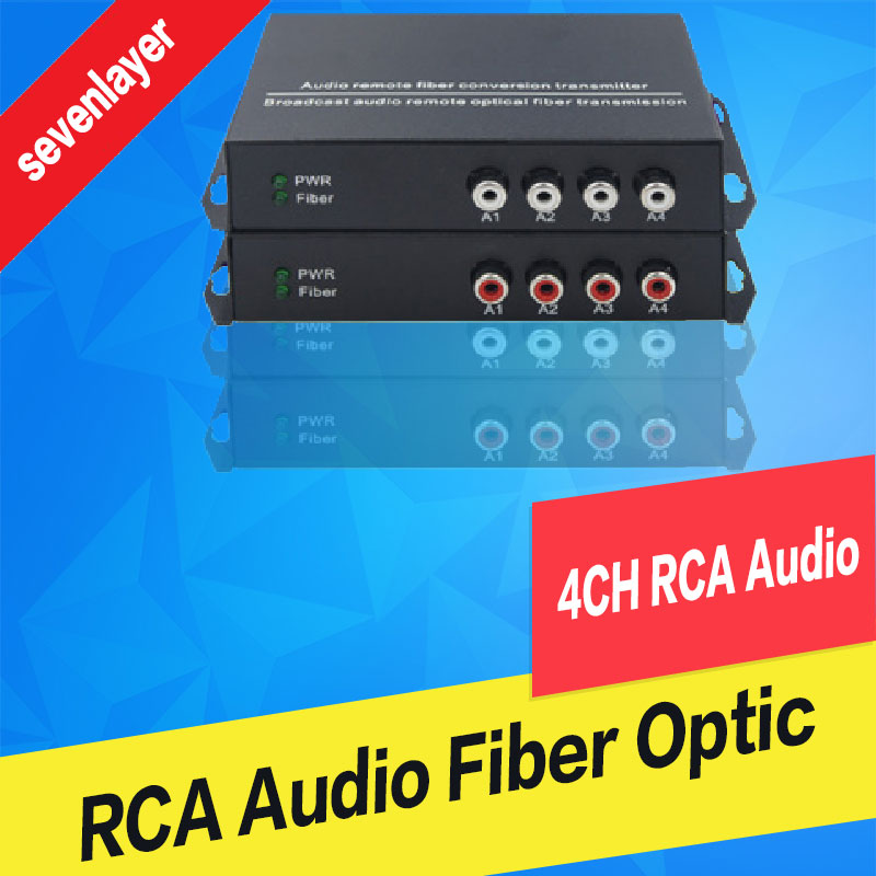 4ch RCA audio to fiber optic converter 20km 100km point to point or Daisy Chain connection