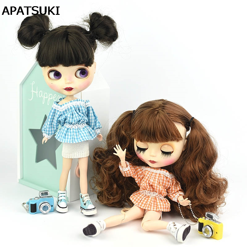 Fashion Off-shoulder Plaid 1:6 Lace Clothes For Blythe Doll 1/6 Flounced Top Shirt & White Shorts For Barbie BJD Doll Accessory 1pc long sleeve shirt for blythe dolls base shirt clothes for barbie blouse momoko doll clothes 1 6 doll accessories