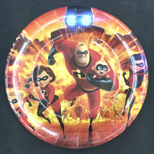 6pcs The Incredibles design 7inch Paper Plates dishes for Kids Birthday Party Decoration Supplies