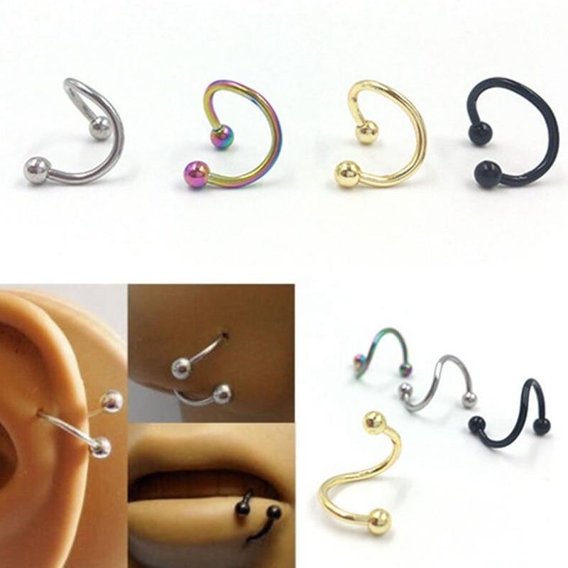 10pcs Punk S Spiral Boby Piercing Jewelry Nose Lip Ear Piercing Rings Stud Hiphop Rock False Twist Cartilage Earrings 5 Colors