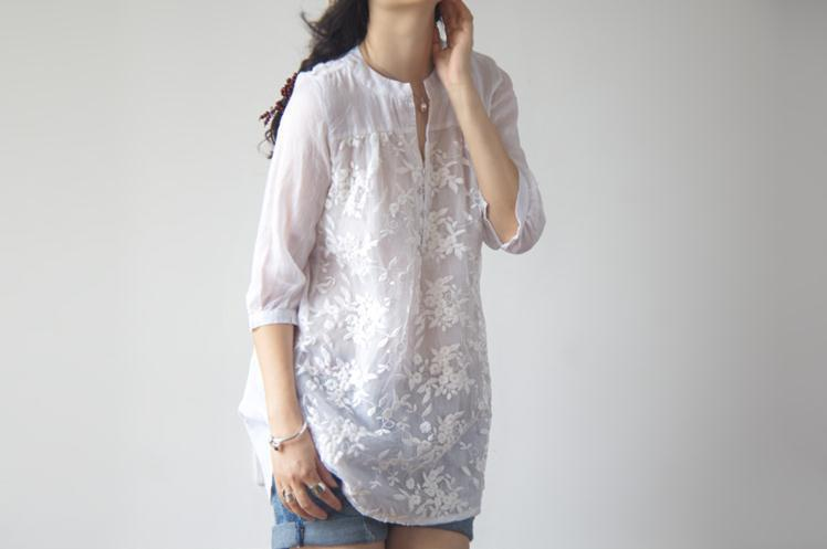 Suelta Más Elegante Tops V142 Verano Nuevo 2018 Clobee Mujeres Blusa Tamaño Estilo Bordado Retro Camisas Blanco Original fFUU6q