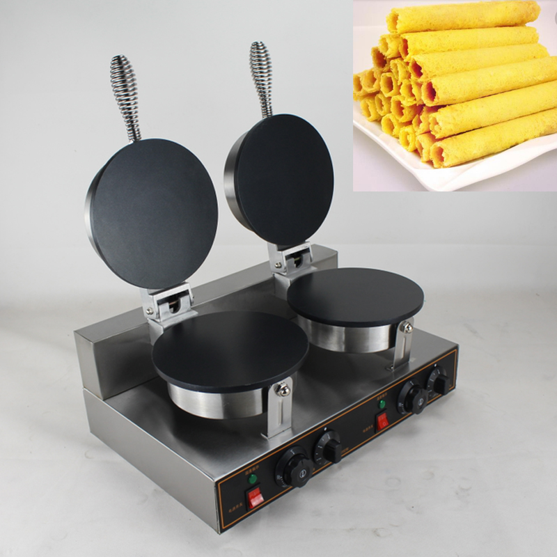 stainless steel double head Waffle Egg Roll Maker/ Egg Roll making machinestainless steel double head Waffle Egg Roll Maker/ Egg Roll making machine