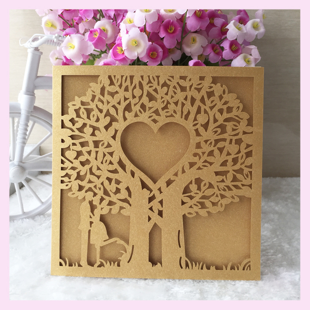 Free shipping love tree two people romantic laser cut wedding free shipping love tree two people romantic laser cut wedding invitation card with low price luxurious stopboris Image collections