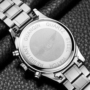 Image 5 - GUANQIN Fashion Brand Watch Men Luxury 2018 Stainless Steel Men Watch Date Waterproof Male Clock Man Black Wrist Quartz Watch B