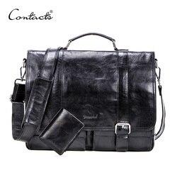 CONTACT'S gemüse leder männer aktentasche für 13 inch laptop mit leder bifold casual business männlichen messenger tasche große handtasche
