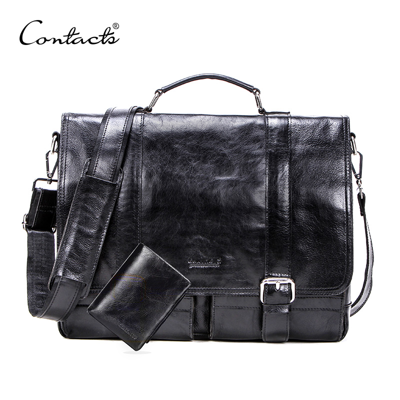 CONTACT'S Vegetables Leather Men Briefcase For 13 Inch Laptop With Leather Bifold Casual Business Male Messenger Bag Big Handbag