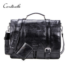 CONTACTS vegetables leather men briefcase for 13 inch laptop with leather bifold casual business male messenger bag big handbag