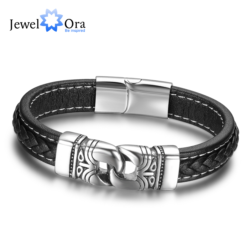 21.5cm Genuine Leather Bracelets For Men Father's Day Gift Jewelry Ancient Stainless Steel Bracelets & Bangle(JewelOra BA101882)