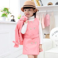 Girls Clothing Sets Spring Autumn Trench Cardigan Dress Set Brand Casual Casaco 2pc Kids Winter Clothes