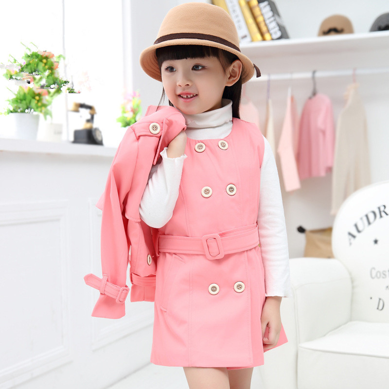 Girls Clothing Sets Spring Autumn Trench Cardigan Dress Set Brand Casual Casaco 2pc Kids Winter Clothes Next Children Clothing sales size 100 spring autumn dress sets for girls christmas style red dress white cotton sleeved shirts tops 2 pc clothing