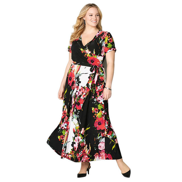 6XL Plus Size Women Vintage Summer Elegant Dresses Brand Flower Print Beach  Dress Short Sleeve V Neck Swing Long Maxi Dress Belt 98184c568d97