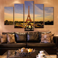 Modern The Blue Sky Of The Eiffel Tower Sofa Background Printed Canvas Wall Paintings Living Room