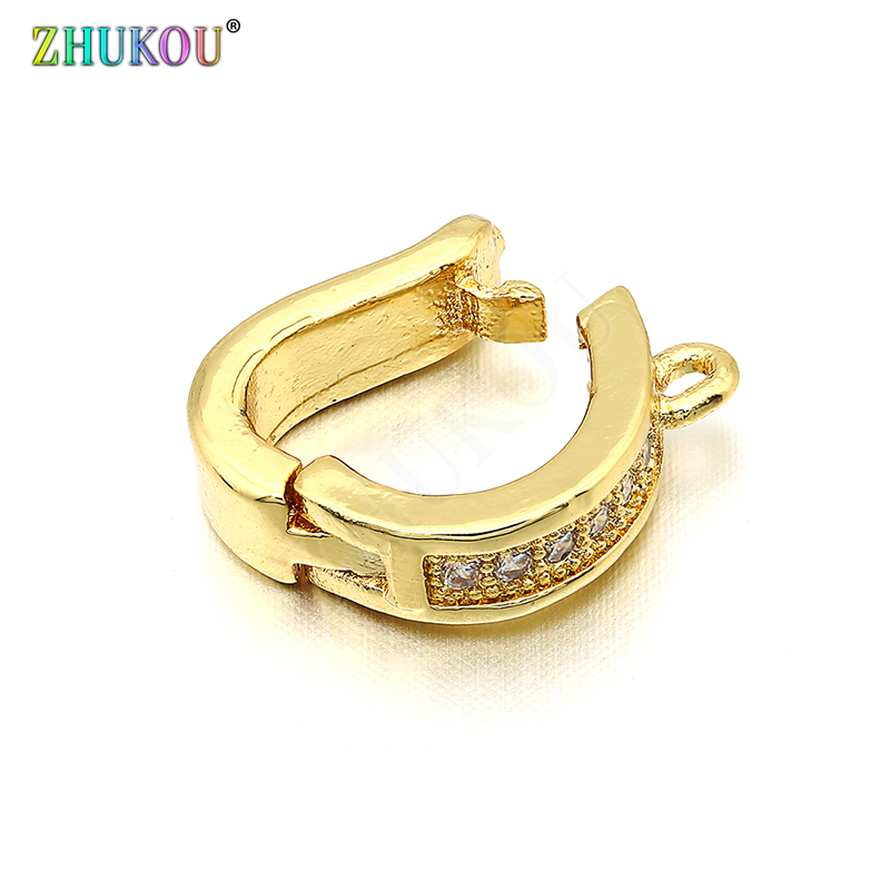 10*12mm Brass Cubic Zirconia Clasps Hooks Diy Jewelry Findings Accessories,Mixed Color,Hole: 1mm, Model: VK28