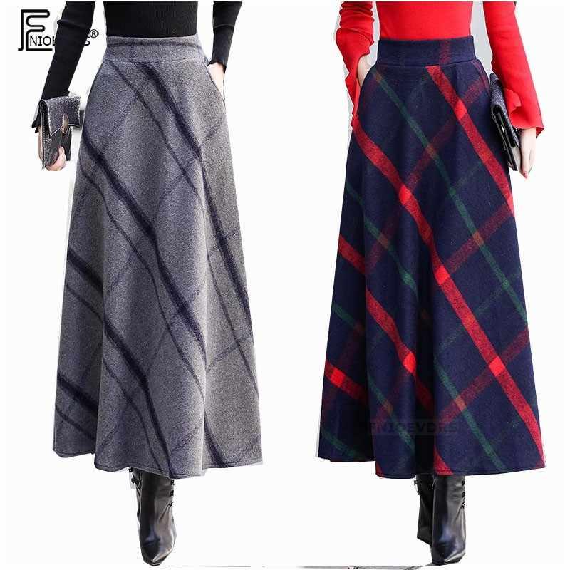 121d25023 High Waist Skirts Hot Women Fall Winter Pocket Elastic Waist Elegant Office  Lady Long Skirt Gray