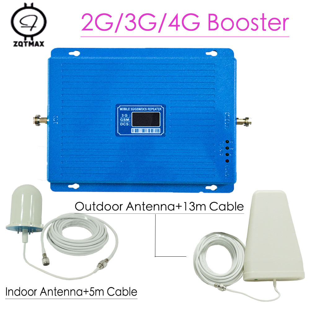GSM 900 4G DCS LTE 1800 WCDMA 2100 Tri Band Cellphone Signal Booster 75dB Gain LCD Display Repeater Amplifier With Antenna Set