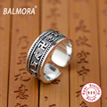 BALMORA Six Words' Sutra 100% Real 925 Sterling Silver Jewelry Classic Rings for Women Men Lovers Party Anniversary Gift SY20727