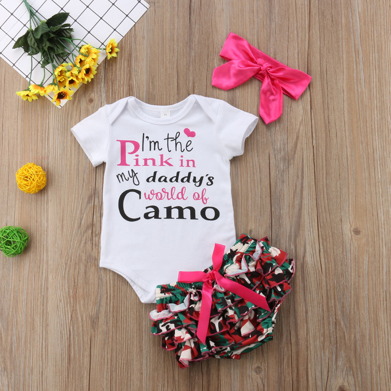 3bf18b50ce15 FOCUSNORM Cute Kids Baby Girls Clothes Short Sleeve Romper Camo Tutu Shorts  Outfits Set Clothes 0 3T-in Clothing Sets from Mother   Kids on  Aliexpress.com ...
