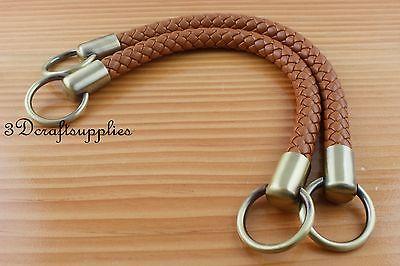 Crochet PU Bag Strap Leather Handles Purse Handles A Pair Brown 30.5 Cm AB48