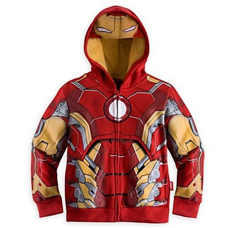 2016 New Spring Autumn Jacket The Avengers Children Iron man Hooded Sweatshirt Kids Coat Vestidos