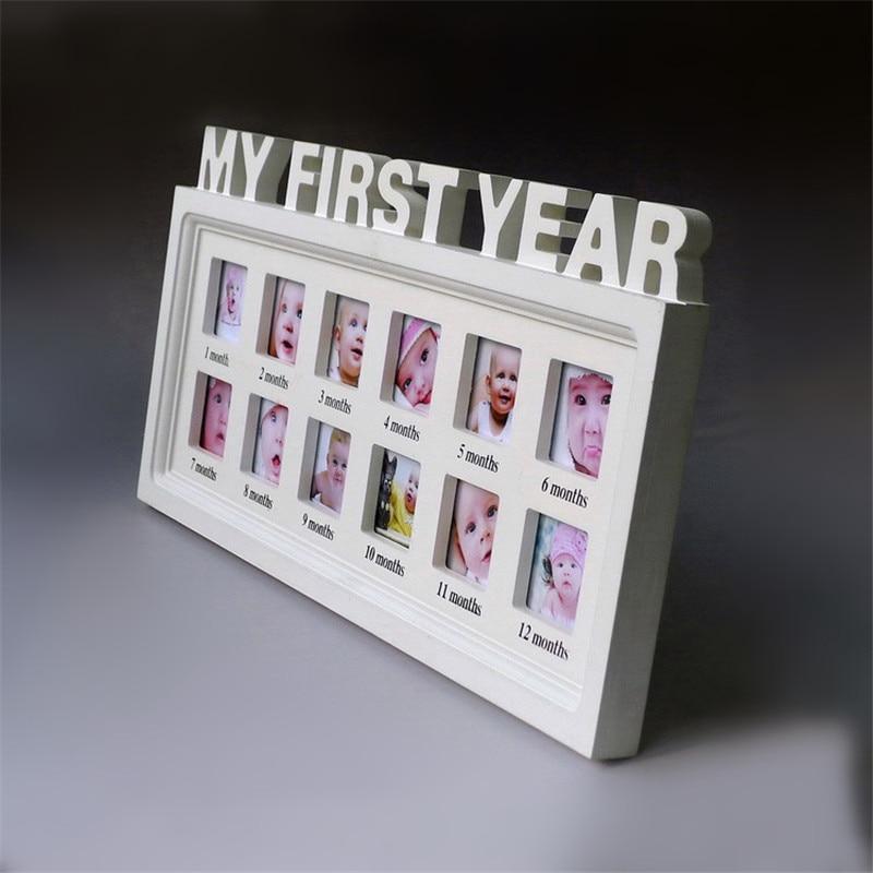 1 Stücke Mode Baby Erste Jahr holz Bilderrahmen kinder wachstum ...