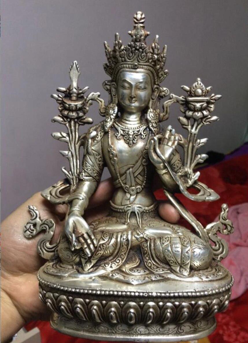 8 inches Tibet silver copper Buddha statue white tara Tibetan Buddhism8 inches Tibet silver copper Buddha statue white tara Tibetan Buddhism