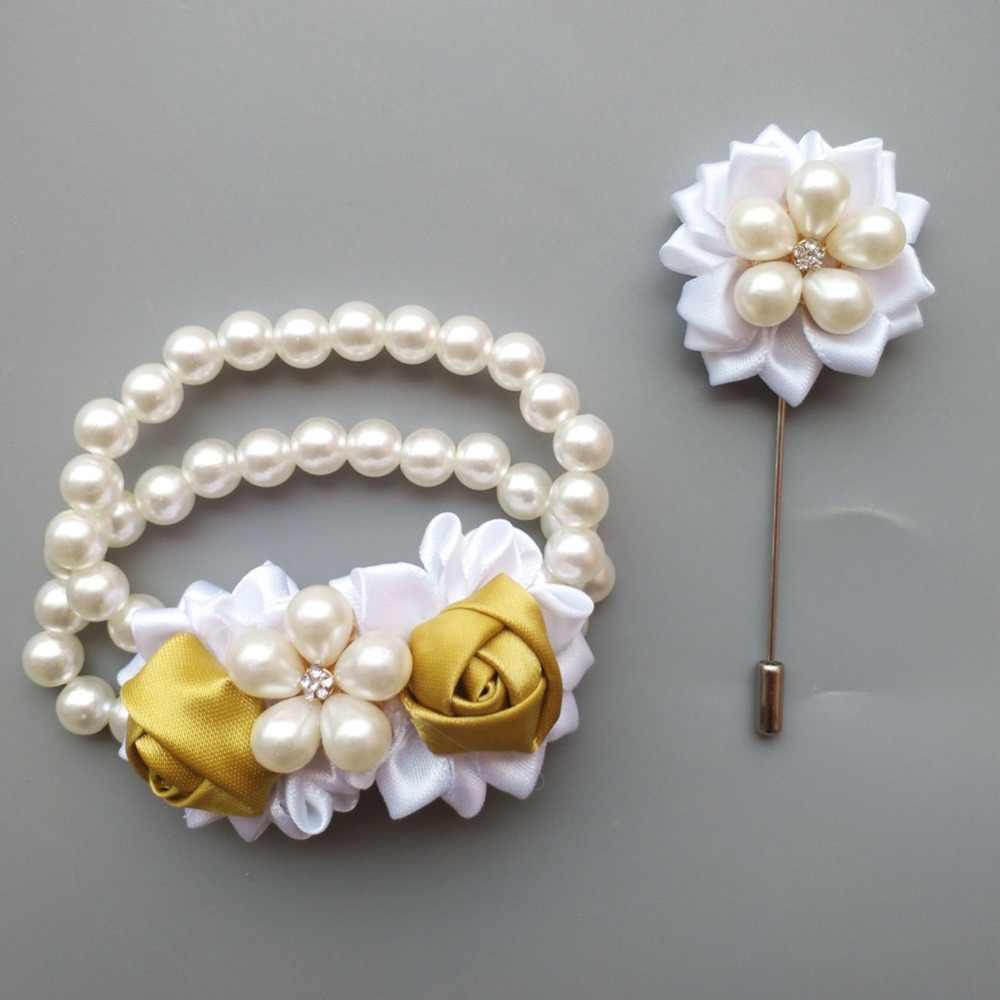 (Pergelangan Tangan Bunga dan Kancing Golden Pernikahan Mawar Buatan Bride Bunga Pernikahan Buket Pengantin Set W128-17T