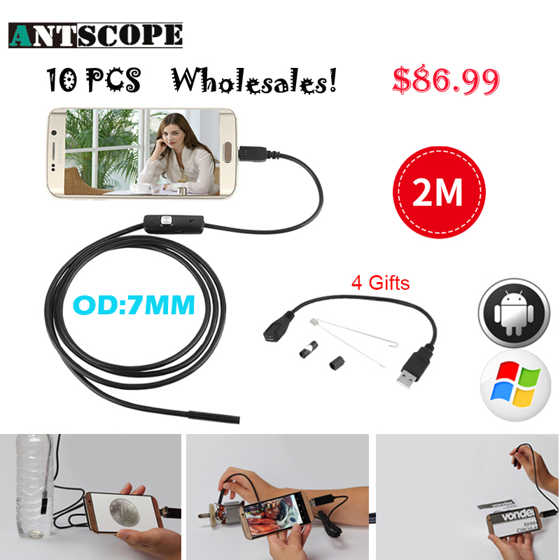Antscope 10pcs 7mm Lens USB Android Endoscope Camera Snake Tube 2M Inspection Micro USB Borescope Endoscopio Camera gakaki 7mm lens usb endoscope borescope android camera 2m waterproof inspection snake tube for android phone borescope camera
