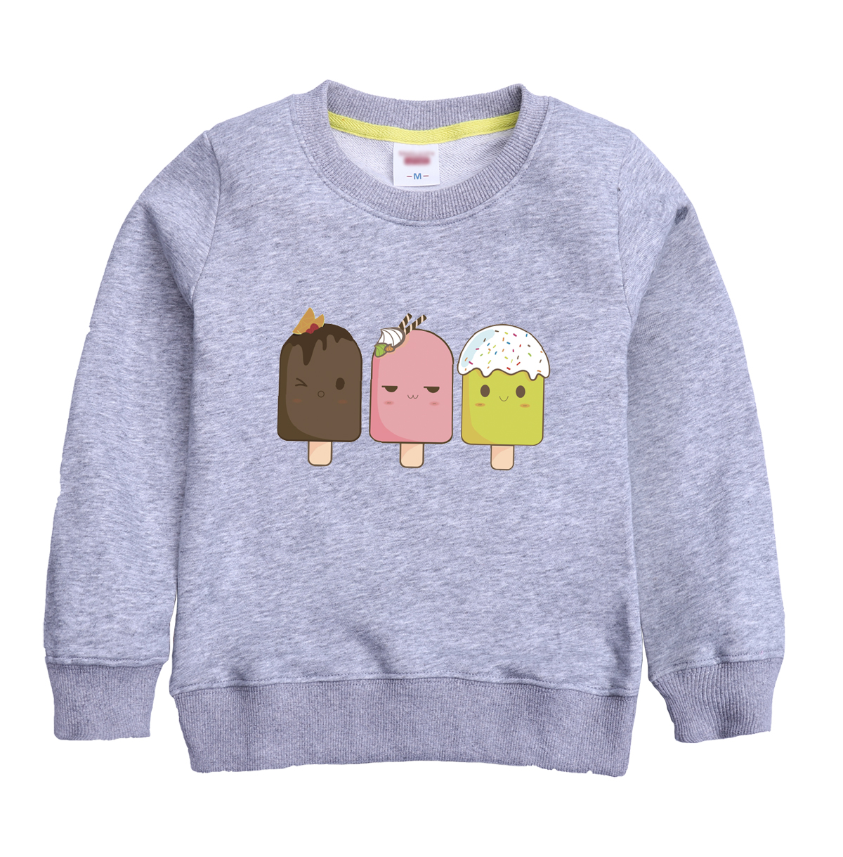 Cute ice cream cartoon pattern 2018new fashion winter sweatshirt design for children keeping warm of casual clothing for winter