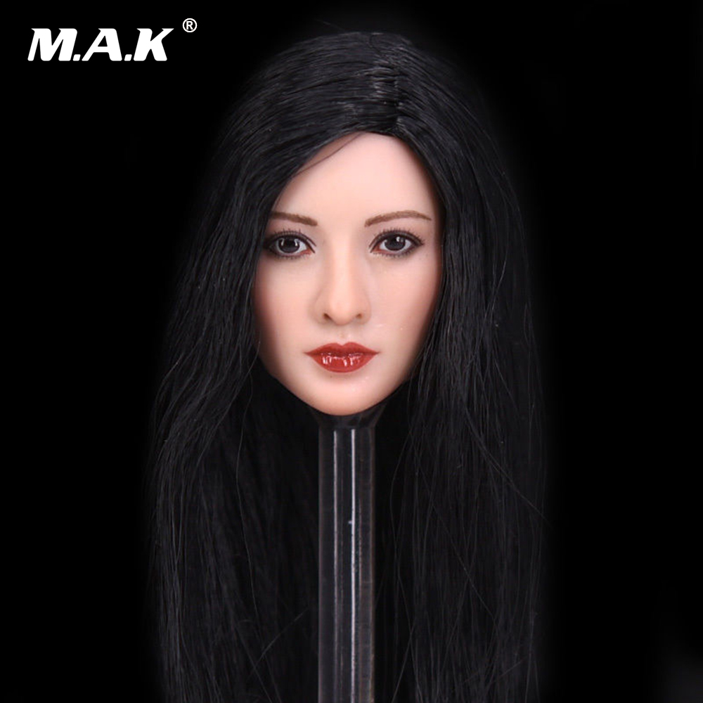 1/6 Scale Asian Female Head Sculpt with Black Long Hair Models Toys For 12 Female Action Figure dstoys d 005 1 6 scale female head sculpt beauty girl headplay long curly hair for 12 ht phicen action figure