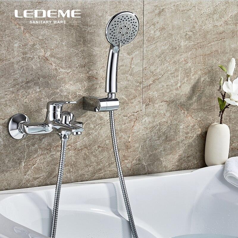 LEDEME Bathtub Faucet Shower Set Brass Body Showers with 5-Function Handhead ABS Shower Head Short Bathroom Shower Tap L3248 цена