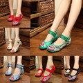 Estilo de la mezcla mujeres de la Manera Zapatos Viejos de Pekín Mary Jane Plana Denim Pisos con Bordados Únicos Zapatos Ocasionales Suaves de tacón Tamaño 34-41