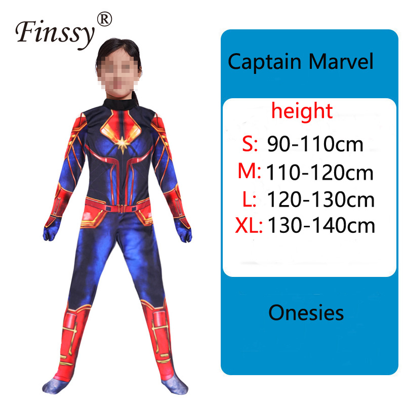 Captain Marvel Children's cosplay costume Halloween carnival show costume Avengers Heroes Clothes for Kids