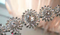 1pcs 30*6cm Silver Colors Bridal Applique Clear Sewing On Rhinestones Crystal Applique embellishment for wedding belt