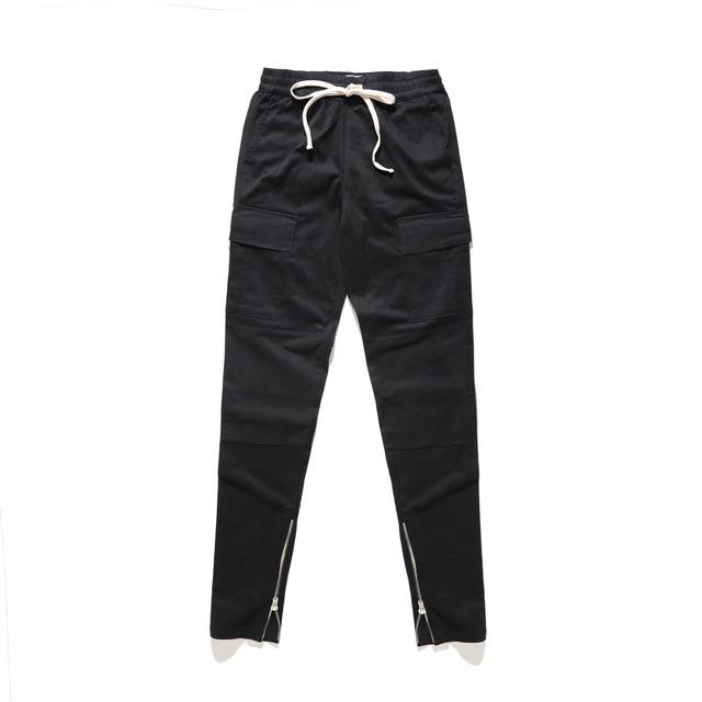 men Hip hop Slim fit drawstring cargo pants side leg zip open joggers