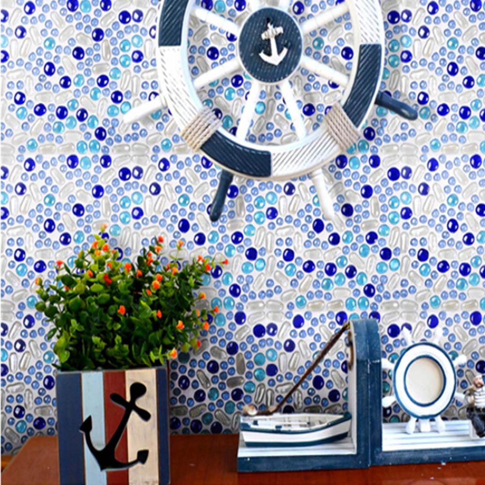 blue mosaic crystal glass beads mosaic tiles tv backsplash wall