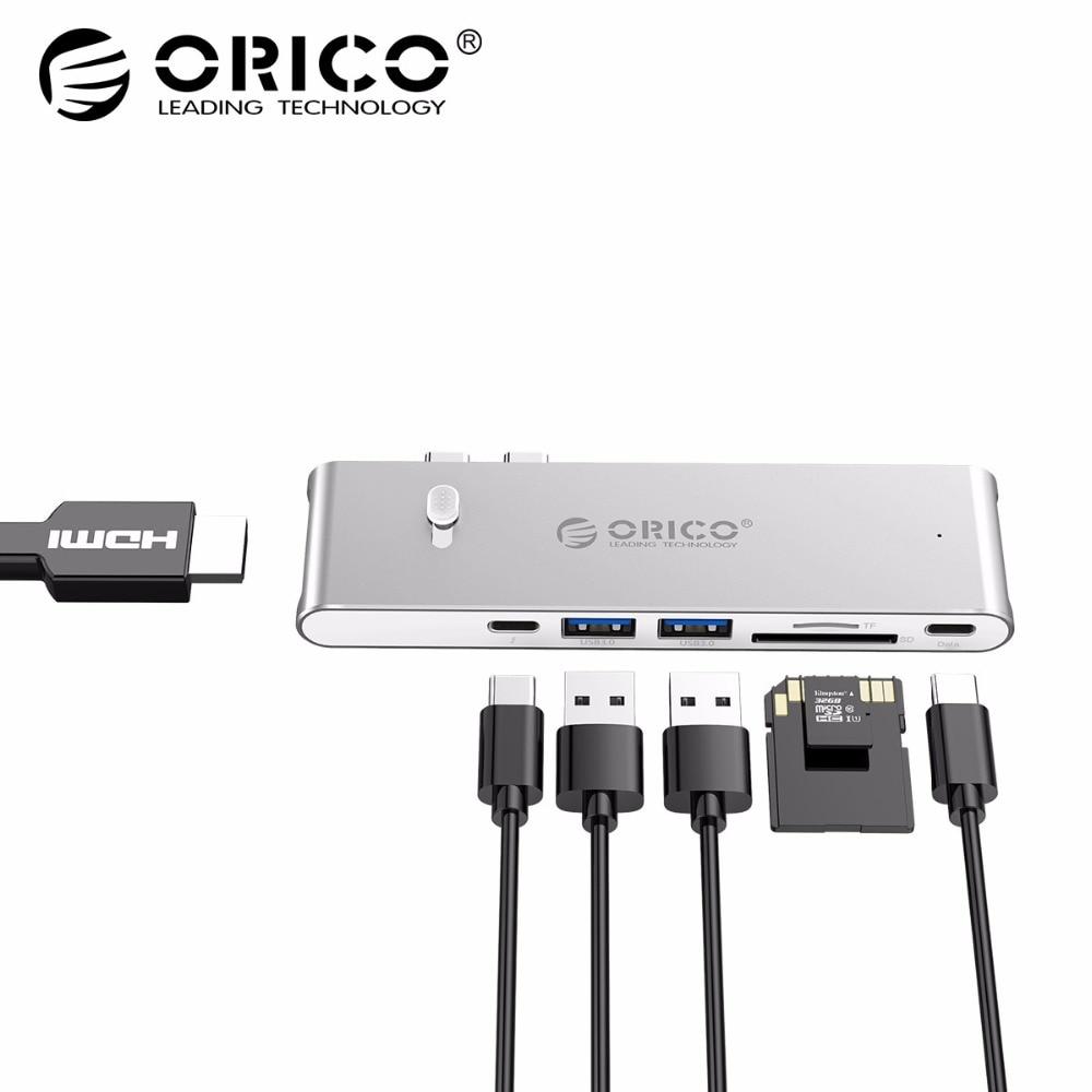 ORICO 9 in 1 USB C HUB di Tipo C A HDMI Thunderbolt 3 TF Micro lettore di Schede SD Per imac per Macbook pro 2015 2016 4 k USB 3.0 HUB