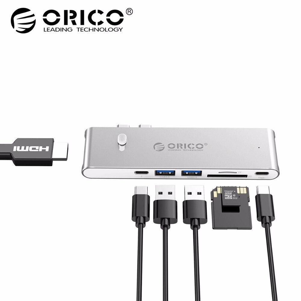 ORICO 9 в 1 USB C концентратор тип C к HDMI Thunderbolt 3 TF Micro SD Card Reader Для imac для MacBook Pro 2015 2016 К 4 к USB 3,0 концентратор