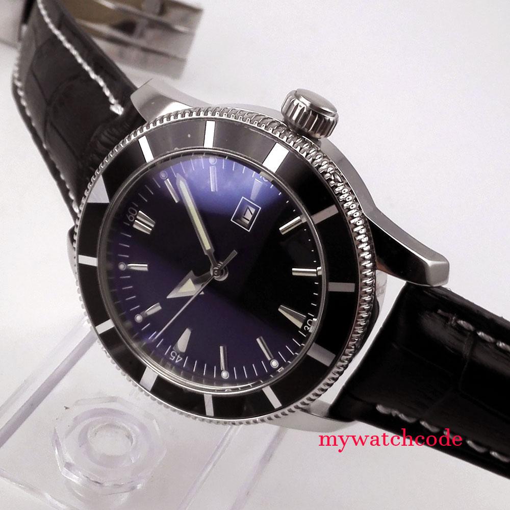44mm Parnis Schwarz quadrante Dato Herren Edelstahl Automatikuhr Uhr mens watch44mm Parnis Schwarz quadrante Dato Herren Edelstahl Automatikuhr Uhr mens watch