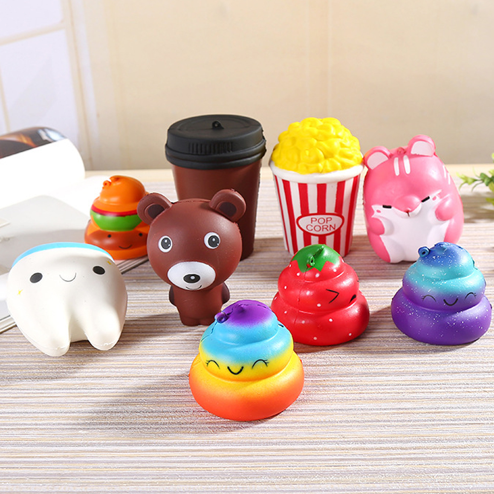 15Styles Cute Squish Antistress Toys For Kids Slow Rising Stress Relief Squishy Toys Food Hamburger Cake Popcorn Coffee Cup