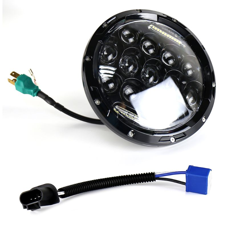 7inch 75W LED Headlight Car Led Driving Light Hi/Lo Beam DRL H4 H13 For Jeep Wrangler