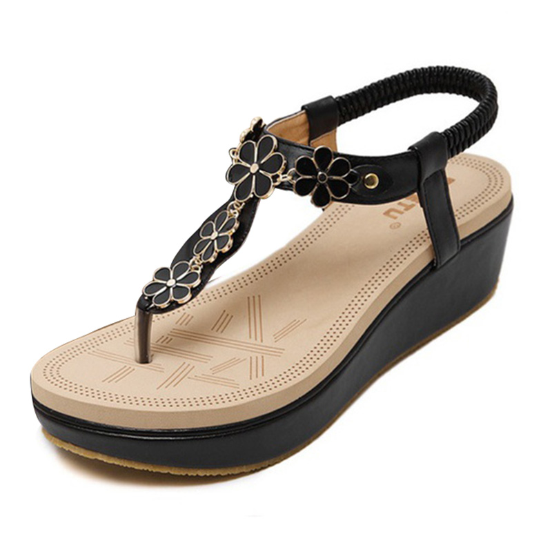 c3f880dd1cee72 SIKETU Women Summer Bohemian Flowers Beach Wedge Sandals black 35-in ...