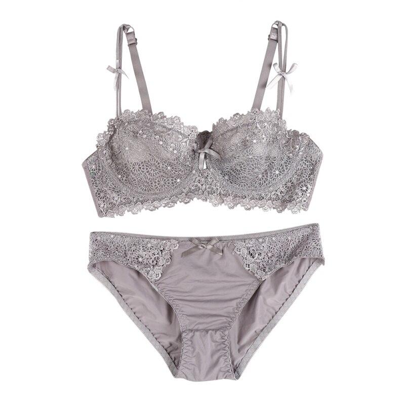 Women Sexy Cute   Set   Push Up Panties And Panties Female Underware Ultra thin Three-Quarter   Bra     Set   Brassiere Lingerie Intimates