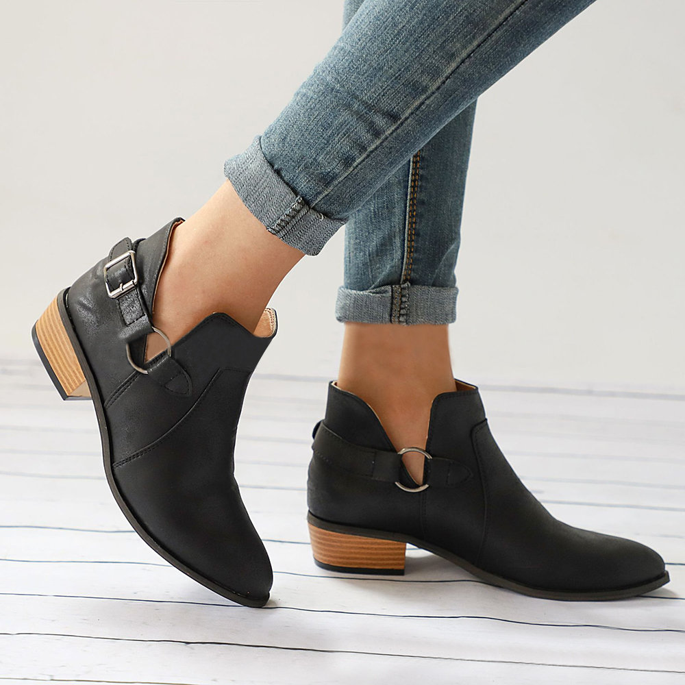 4e03245a67e3a US $24.43 |Autumn Female Ankle Boots Woman Low Heel Shoes Buckle Clog Heels  Plus Size Casual Slip on Short Boot Sewing Footwear-in Ankle Boots from ...